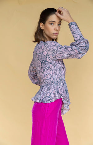 Les Rêveries Ruffle Python Wrap Top