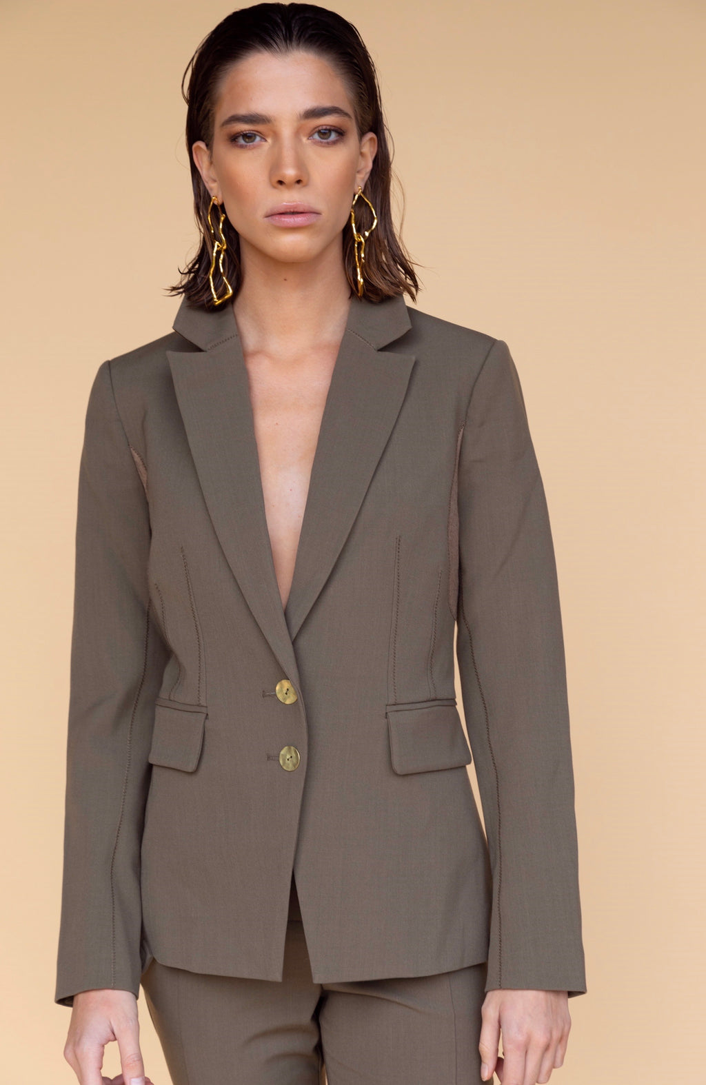 Jonathan Simkhai Mixed Wool Patch Olive Blazer