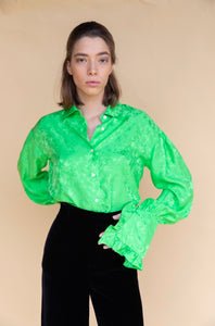 Les Rêveries Ruffle Cuff Green Shirt