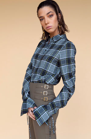 Jonathan Simkhai Plaid Print Tied Sleeve