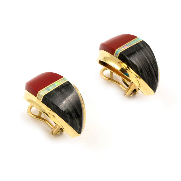 14k Gold Inlaid Earrings
