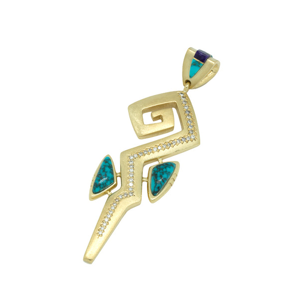 18k Gold Inlay and Diamond Pendant