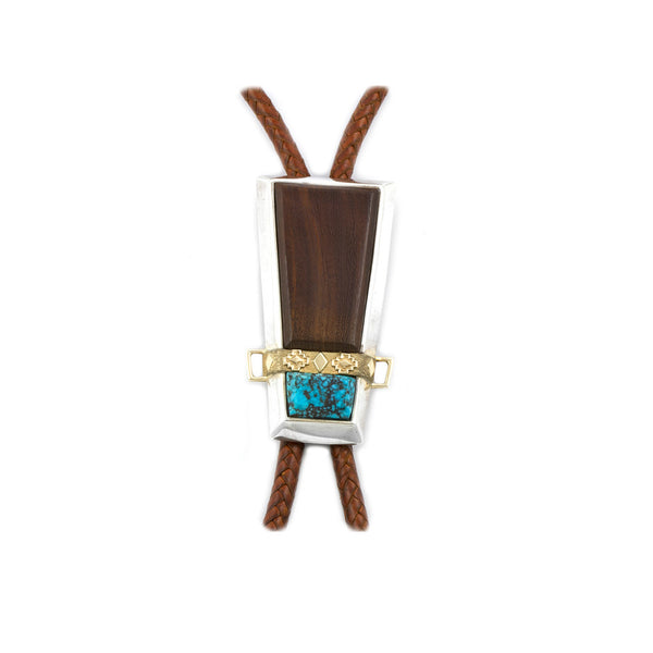 Ironwood and Morenci Turquoise Bolo