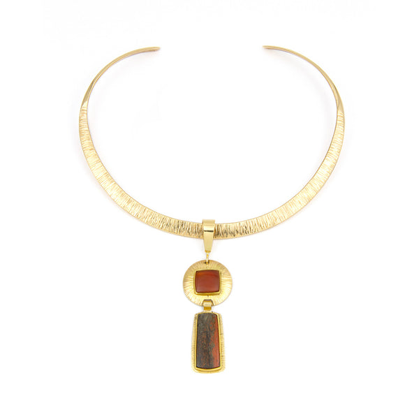 14k Gold Carnelian Necklace