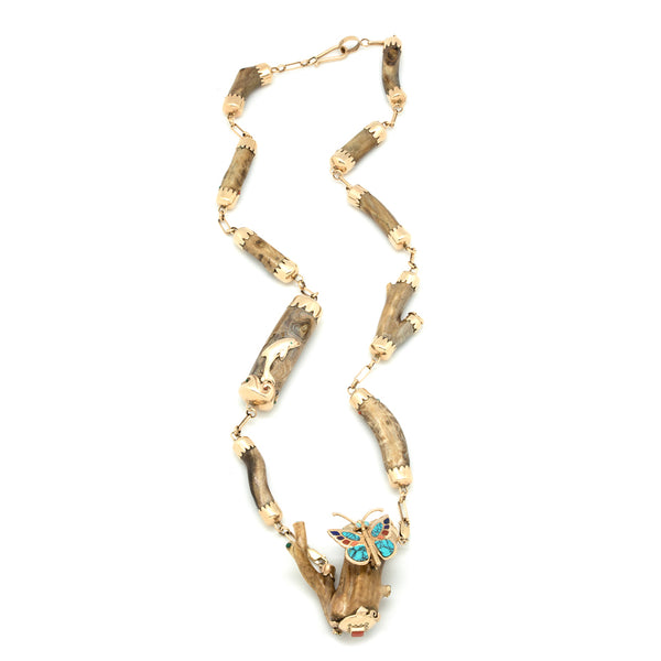 14k Gold Butterfly Necklace