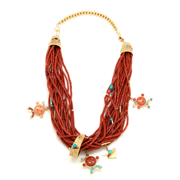 18k Gold Coral Mudhead Necklace