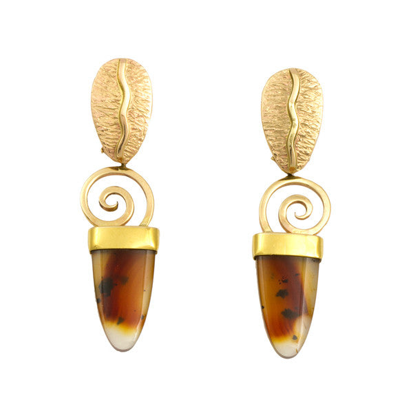 14k Gold Agate Earrings