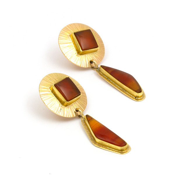 14k Gold Carnelian Earrings