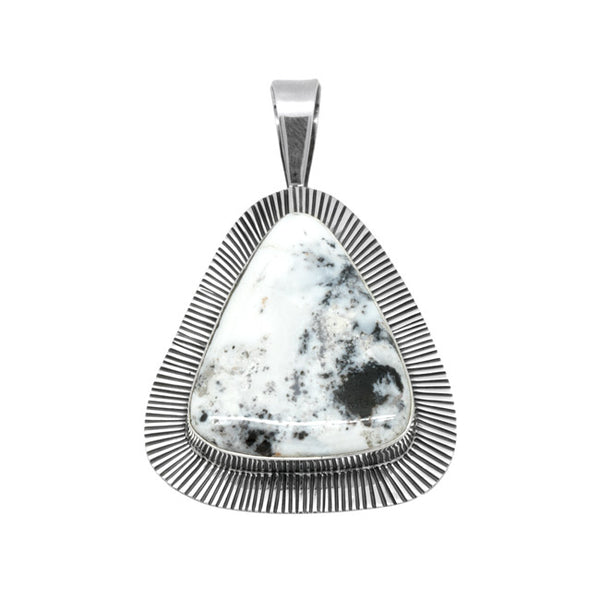 Sterling Silver White Buffalo Pendant