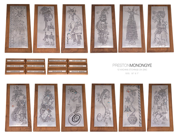 Set of 12 Hopi Kachina Etchings