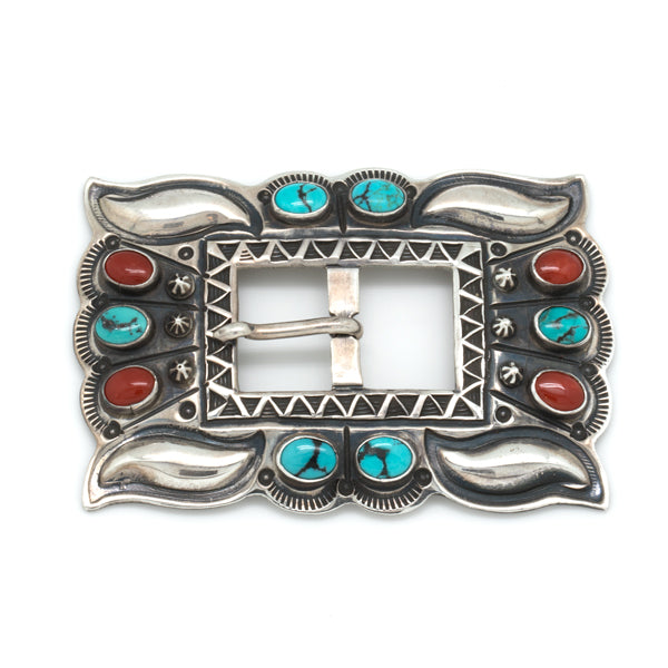 Silver Turquoise and Coral Buckle