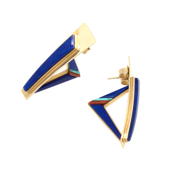 14k Gold Inlay Lapis Earrings