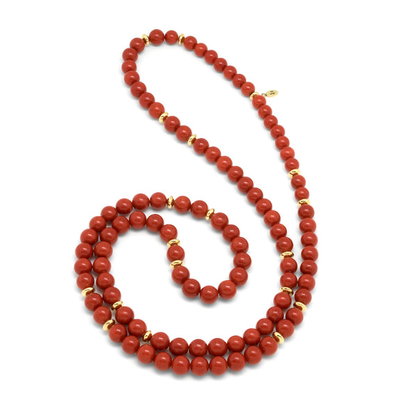 18k Gold and Mediterranean Coral Beads