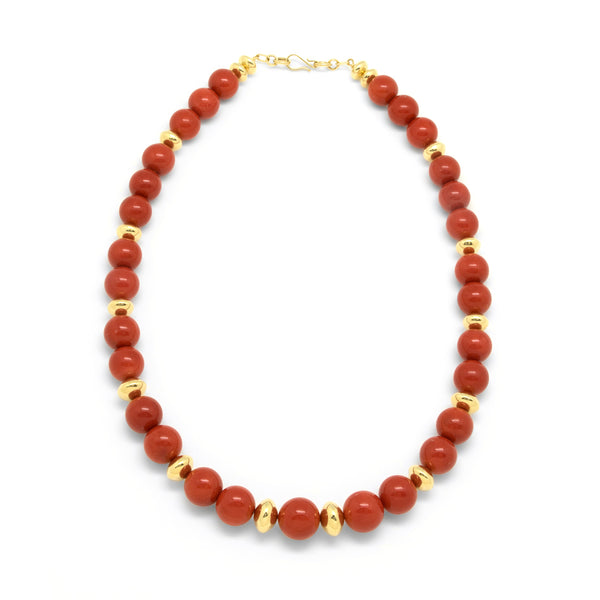18k Gold Mediterranean Coral Necklace