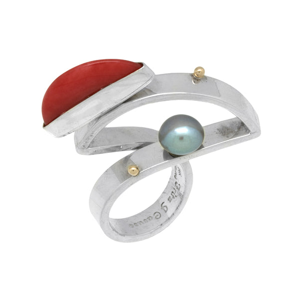 Silver Coral and Pearl Ring