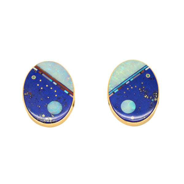 Gold Inlaid Earrings