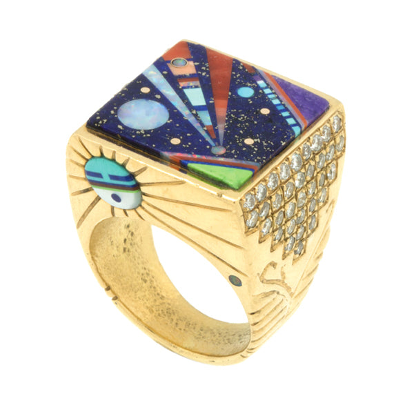 14k Gold Inlaid Diamond Ring