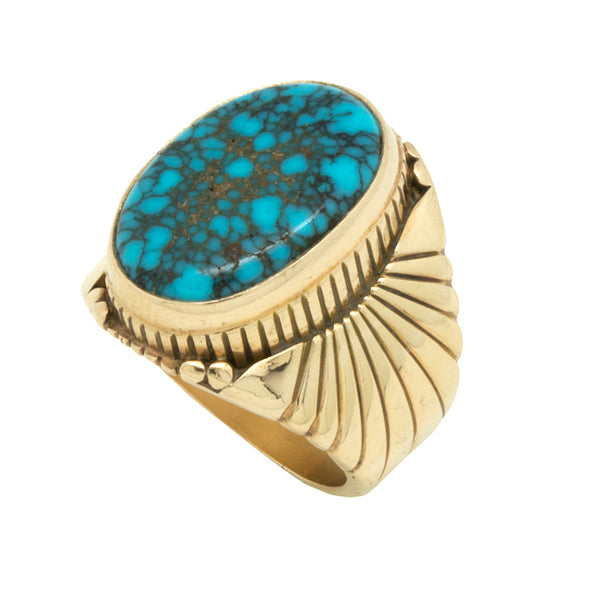 14k Gold Lone Mountain Turquoise Ring