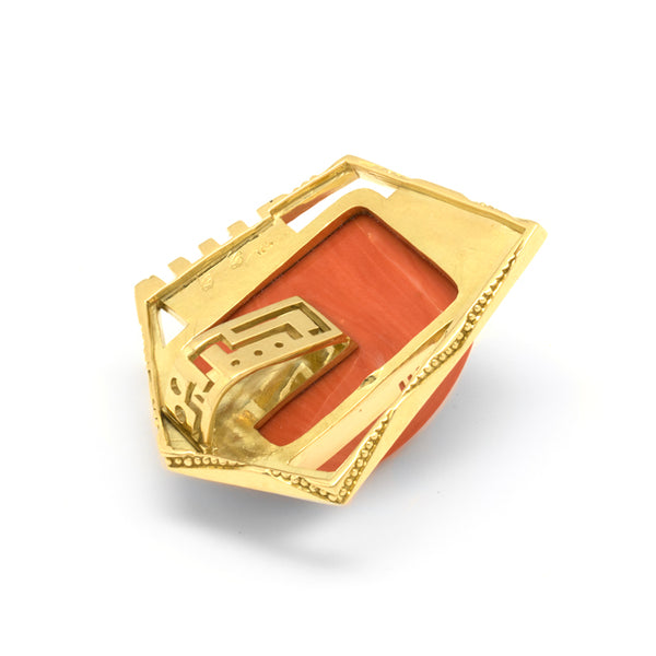 18k Gold Coral Pendant