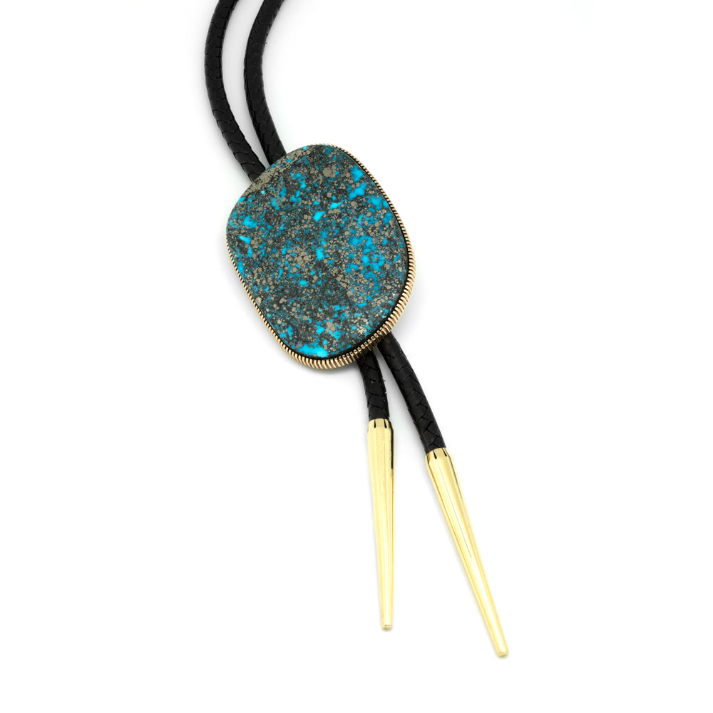 635870f9fddc 18k Gold Morenci Turquoise Bolo – Waddell Gallery