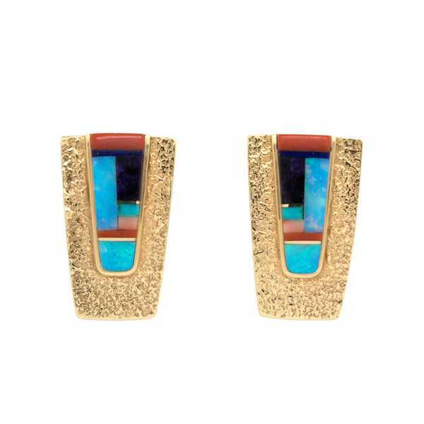 18k Gold Inlay Earrings