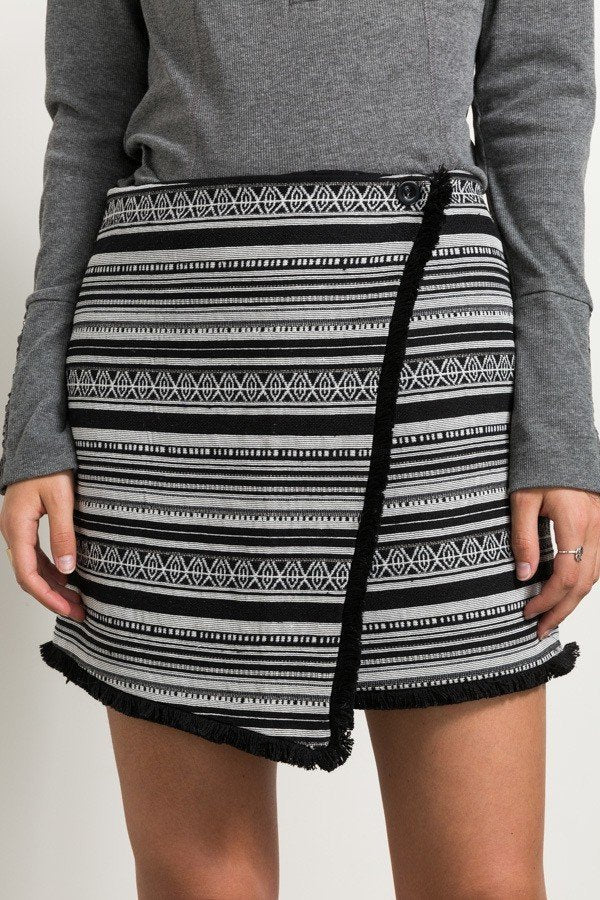 Wrapped Tribal Print Skirt