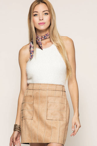 Stitched Suede Skirt