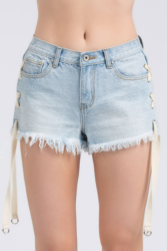Lace Up Denim Shorts