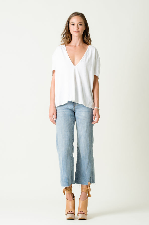 White Kinsley Deep V Tee