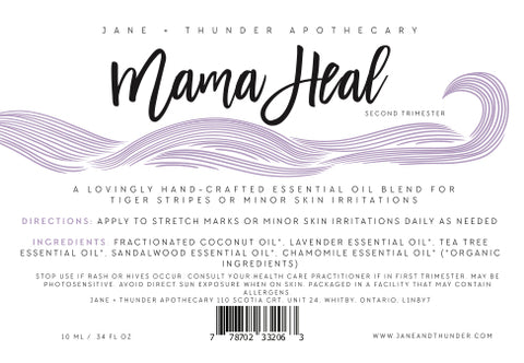 Mama Heal | Organic, Allergy Free, Pregnancy Safe Mama Essential Oils | Jane and Thunder Apothecary