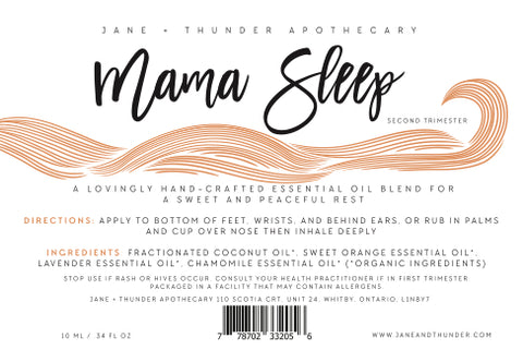 Mama Sleep | Organic, Allergy Free, Pregnancy Safe Mama Essential Oils | Jane and Thunder Apothecary