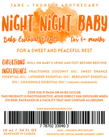 Organic Baby Safe Essential Oil Blend - Night Night Baby - Sleep Remedy