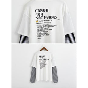 404 Error Faux Two Piece T-Shirt - Shop Minu (shirt) Korean Aesthetic Apparel & Accessories