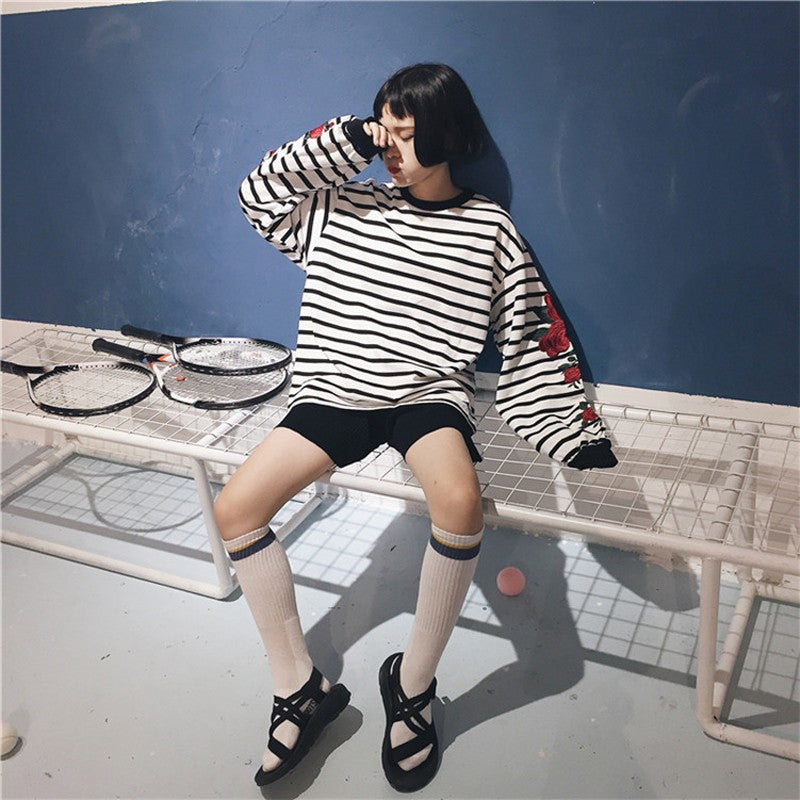 Striped Rose Sleeve Sweater - Shop Minu (shirt) Korean Aesthetic Apparel & Accessories