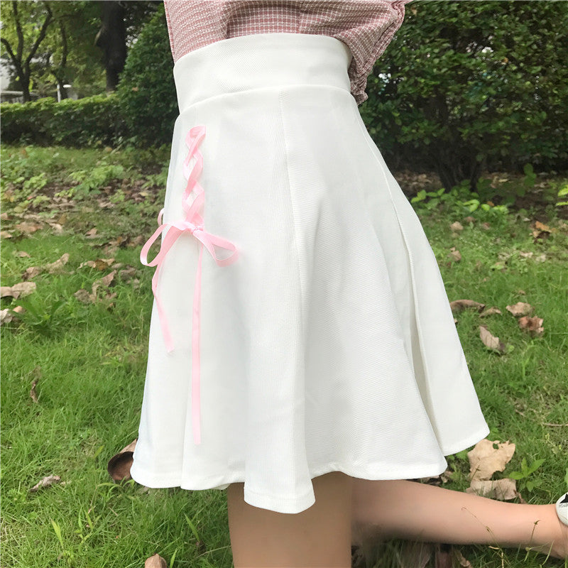 Kawaii Lace High Waisted Skirt - Shop Minu (skirt) Korean Aesthetic Asian Women's Fashion