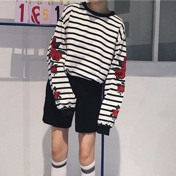 984bf9217 Striped Rose Sleeve Sweater - Shop Minu (shirt) Korean Aesthetic Apparel    Accessories