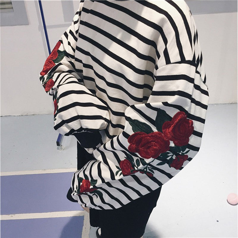 STRIPED ROSE SLEEVE SWEATER