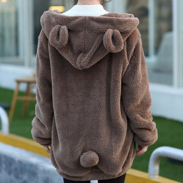 Fluffy Bear Hoodie - Shop Minu (hoodie) Korean Aesthetic Asian Women's Fashion