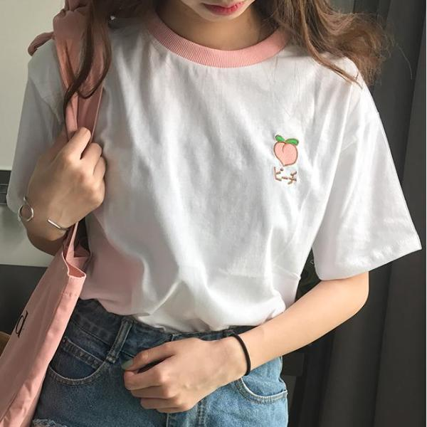 Embroidered Fruity Tee - Shop Minu (shirt) Korean Aesthetic Asian Women's Fashion