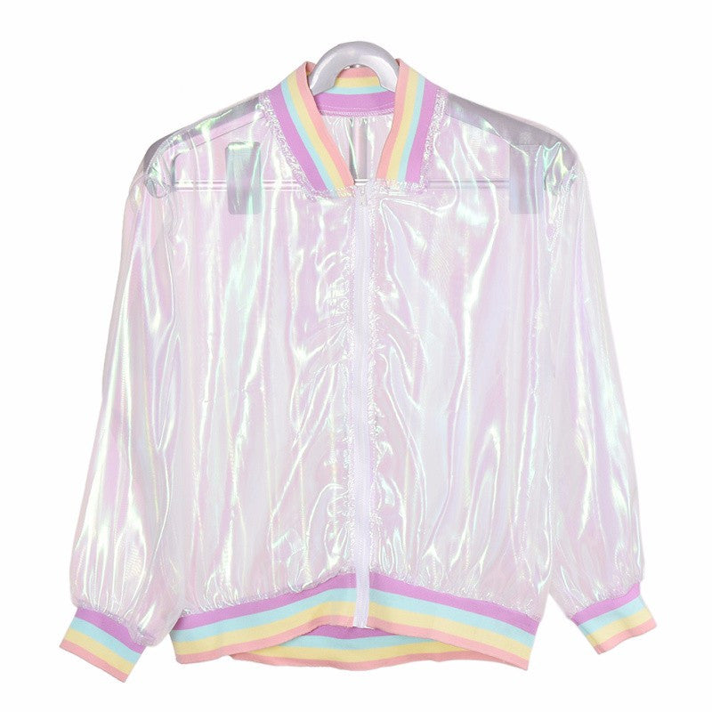 Holographic Rainbow Jacket - Shop Minu (jacket) Korean Aesthetic Apparel & Accessories