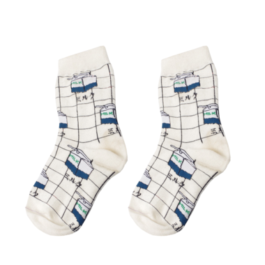 Milk Grid Socks - Shop Minu (socks) Korean Aesthetic Apparel & Accessories