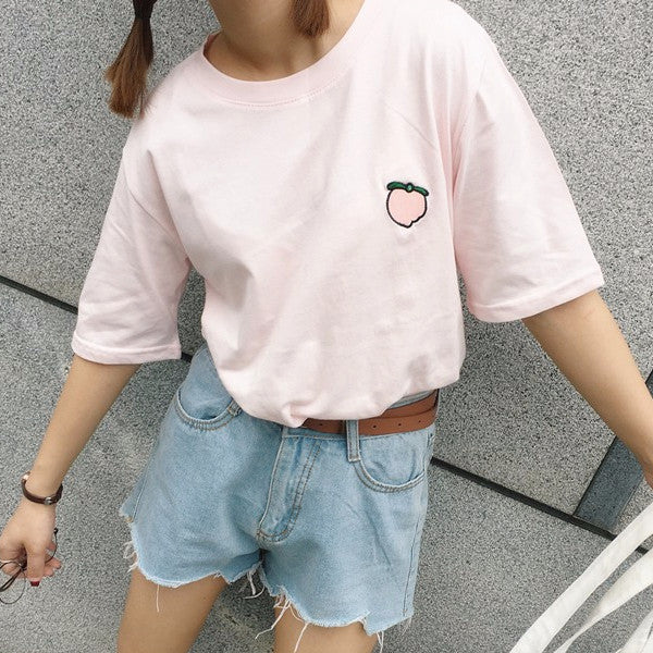 Peach Patch Tee - Shop Minu (shirt) Korean Aesthetic Asian Women's Fashion