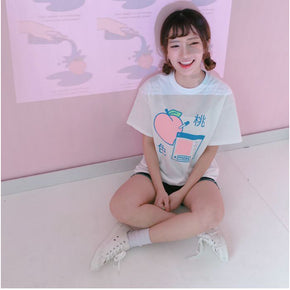 Peachy Tee - Shop Minu (shirt) Korean Aesthetic Asian Women's Fashion