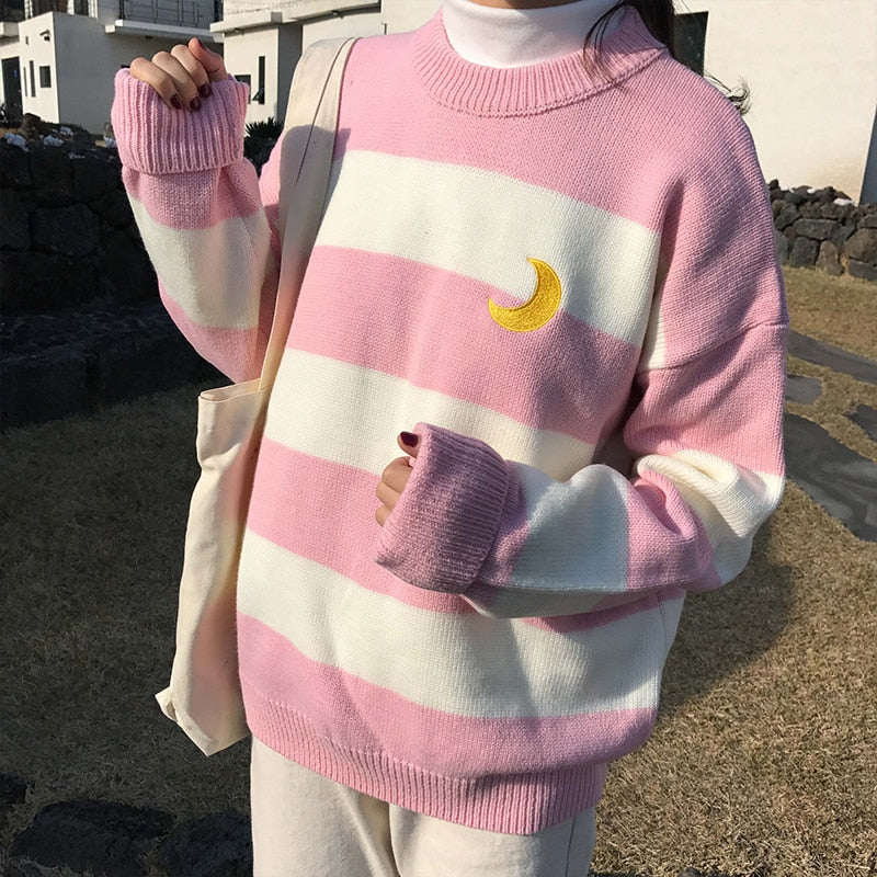 Striped Crescent Moon Sweater - Shop Minu (shirt) Korean Aesthetic Apparel & Accessories