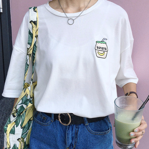 Banana Milk Tee - Shop Minu (shirt) Korean Aesthetic Asian Women's Fashion