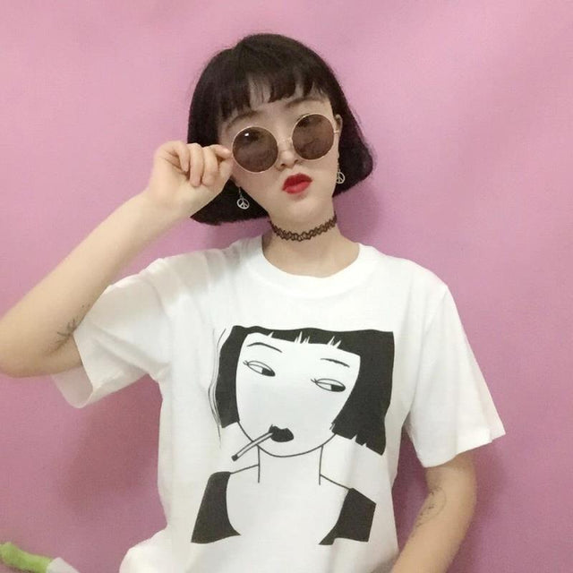 Smoking Girl Tee - Shop Minu (shirt) Korean Aesthetic Asian Women's Fashion