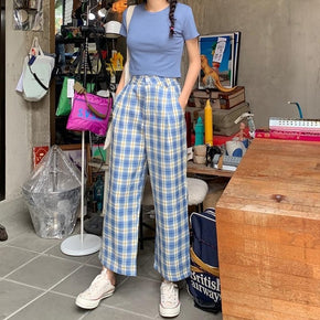 Loose Straight Plaid Pants - Shop Minu (pants) Korean Aesthetic Apparel & Accessories