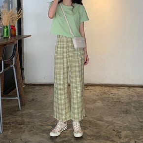 Loose Straight Plaid Pants