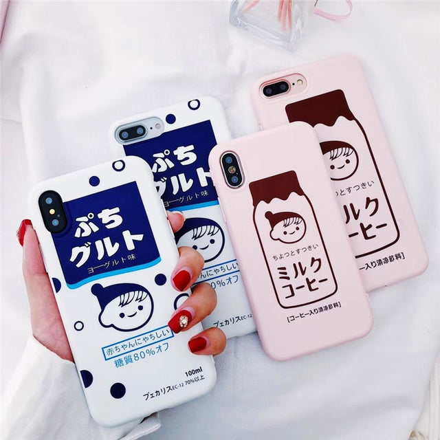 Cute Cartoon Strawberry Milk Soft iPhone Case