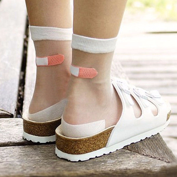 Transparent Band Aid Socks - Shop Minu (socks) Korean Aesthetic Apparel & Accessories